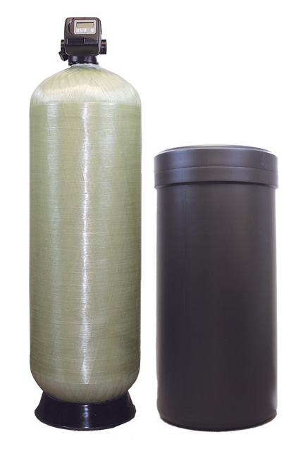Commercial water softeners and backwashing filters